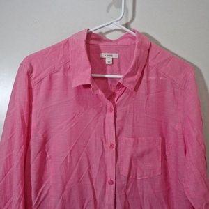 Caslon Button Down Blouse Size Large Pink Pocket L